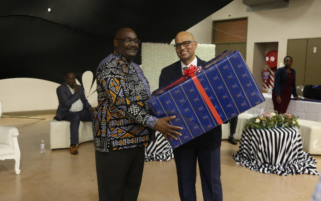 UNIVEN Staff celebrate Prof Mbati as a man of honour during UNIVEN's year-end function