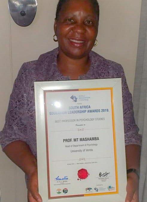 "Prof Tshilidzi Mulaudzi (ńee Mashamba) receives an International Award as ""The Best Professor in Psychology Studies"""