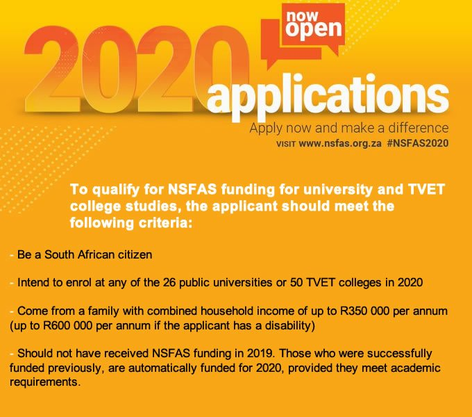 Applications for the NSFAS funding of the 2020 academic year are now open