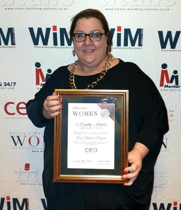 Prof Natasha Potgieter is the recipient of the CEO Global's Pan Africa's Most Influential Woman in Business and Government AND Titans