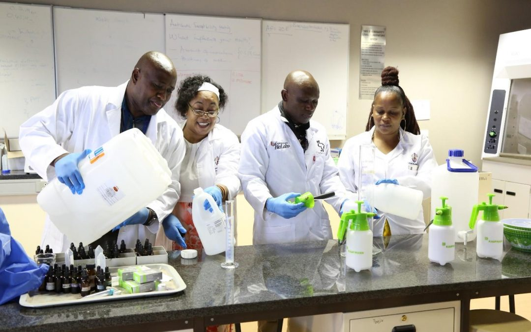 UNIVEN produces hand sanitiser and surface disinfectant to minimize the spread of Coronavirus on campus