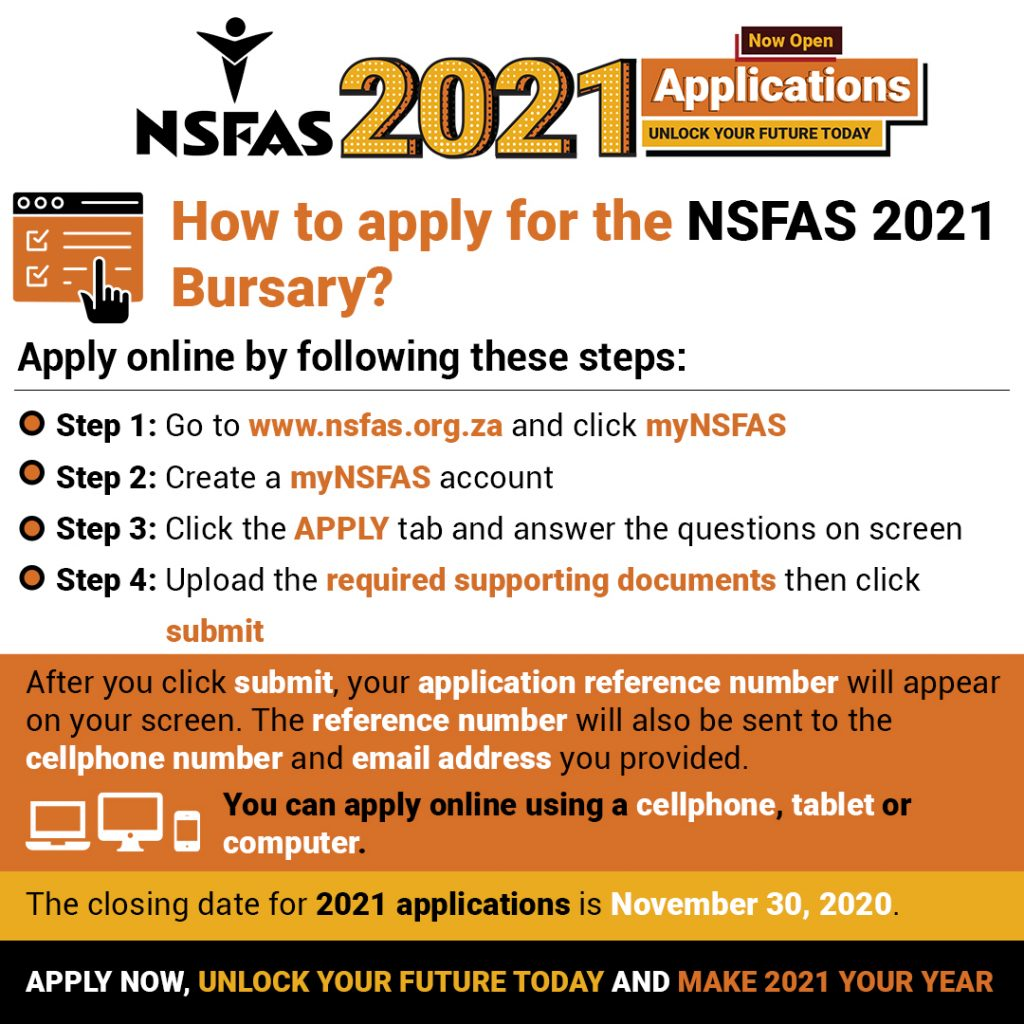 Apply now for #NSFAS2021 and unlock your future today.