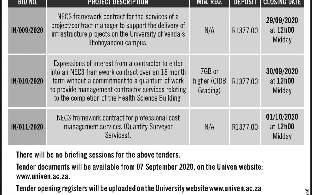 Tenders: NEC3 framework contract for professional cost management services (Quantity Surveyor Services)