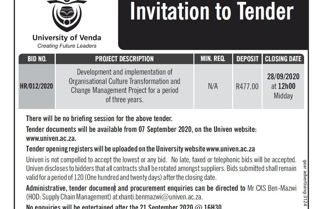 Tenders: Development and implementation of Organisational Culture Transformation and Change Management Project for a period of three years