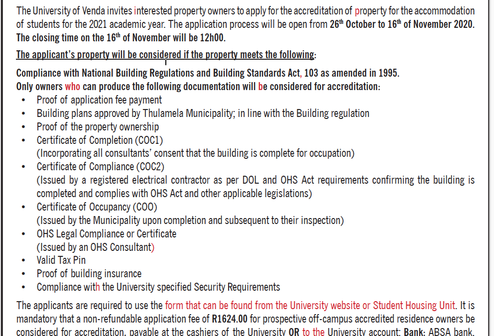 INVITATION TO APPLY FOR THE ACCREDITATION OF PROPERTY FOR STUDENT ACCOMMODATION