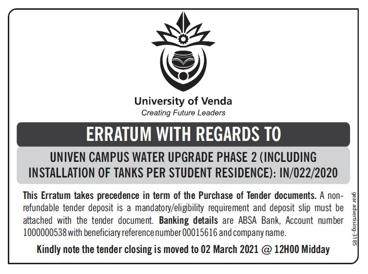ERRATUM WITH REGARDS TO UNIVEN CAMPUS WATER UPGRADE PHASE 2 (INCLUDING INSTALLATION OF TANKS PER STUDENT RESIDENCE): IN/022/2020