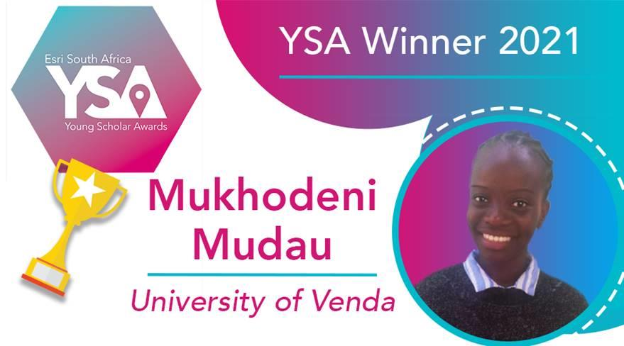 Mukhodeni is the winner of 2021 Esri South Africa Young Scholar Award