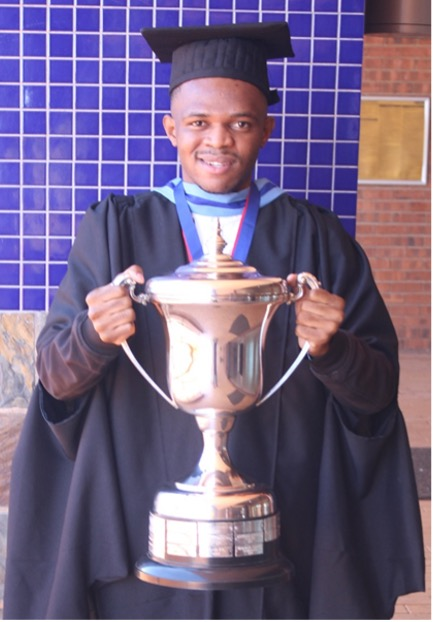 Murendwa Success Munarini receives the Overall Best Student Award during the 2021 UNIVEN virtual graduation