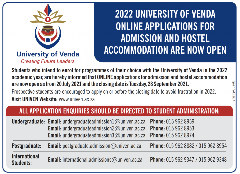 2022 UNIVERSITY OF VENDA ONLINE APPLICATIONS FOR ADMISSION AND HOSTEL ACCOMMODATION ARE CLOSED