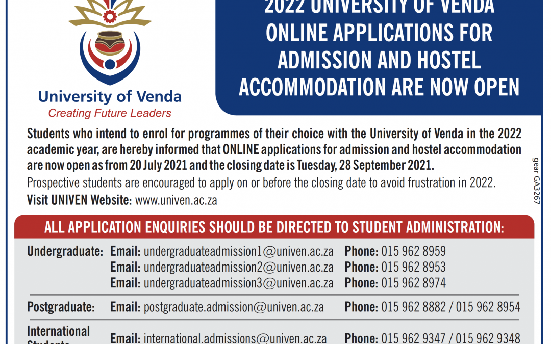 2022 UNIVERSITY OF VENDA ONLINE APPLICATIONS FOR ADMISSION AND HOSTEL ACCOMMODATION ARE NOW OPEN