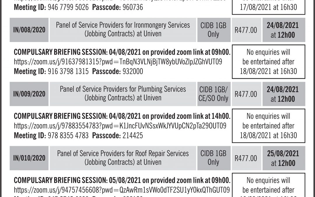 Invitation to Tender: Panel of Service Providers for Welding and Steel Work Services (Jobbing Contracts)