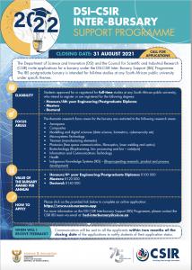 DSI-CSIR Inter-Bursary Advert for 2022 Call for Applications