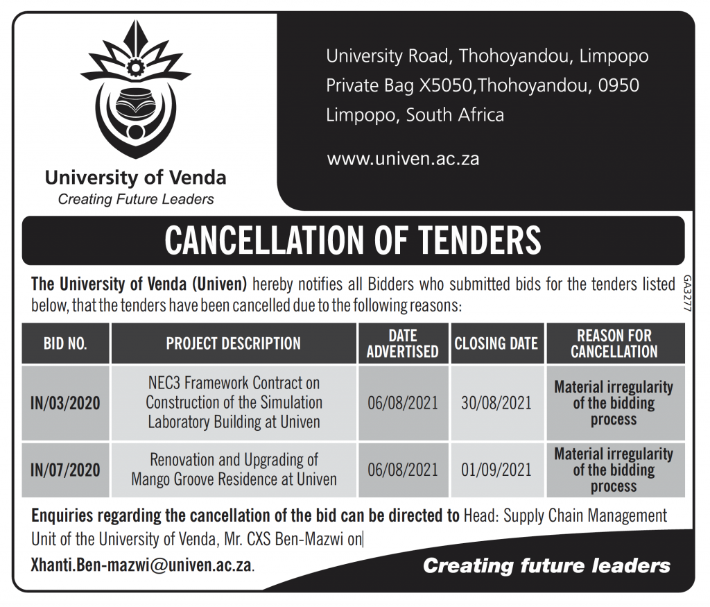 CANCELLATION OF TENDERS